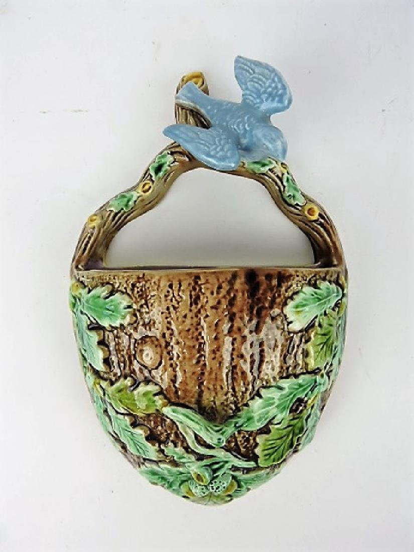 Majolica wall pocket with bird, oak leaves, and