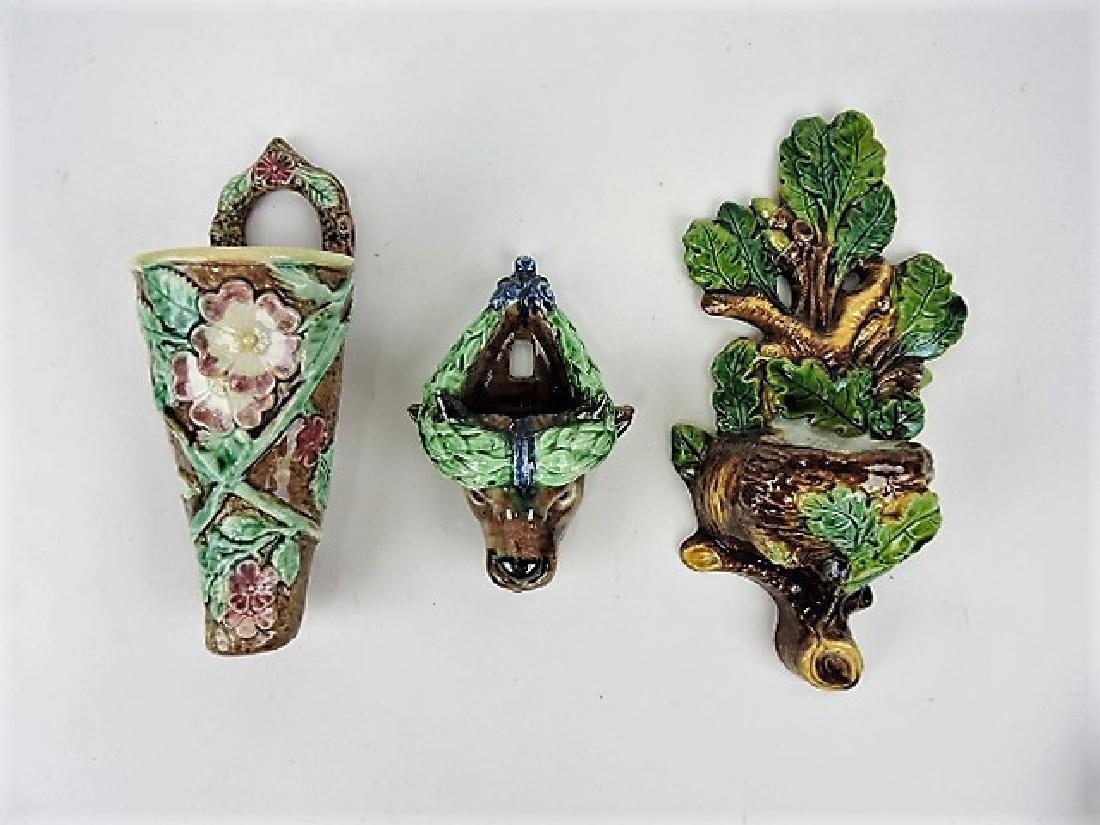 Majolica lot of 3 wall pockets, various condition
