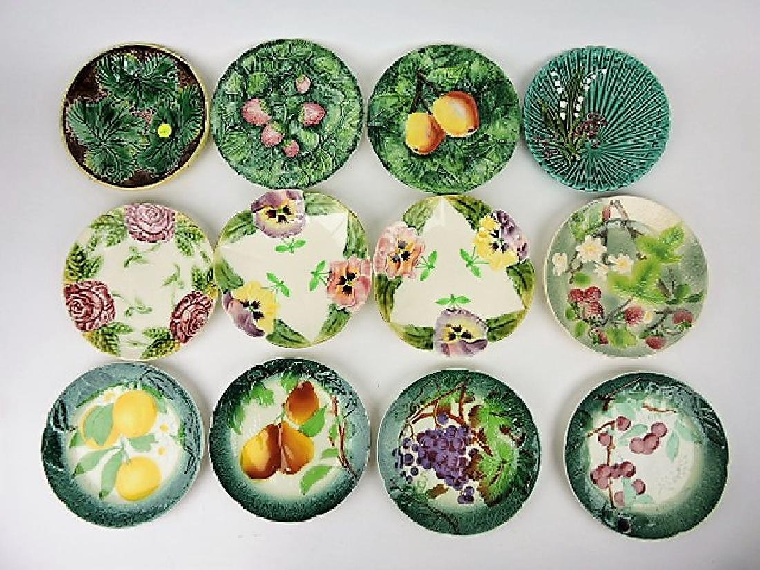 Majolica lot of 12 plates,various condition