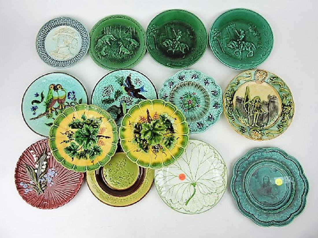 Majolica lot of 14 plates,various condition