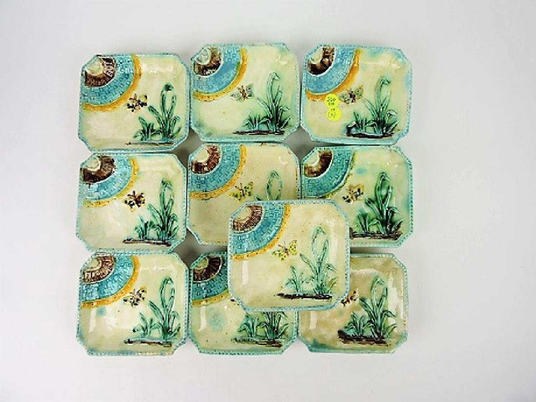 Majolica set of 10 ice cream dishes with butterfly