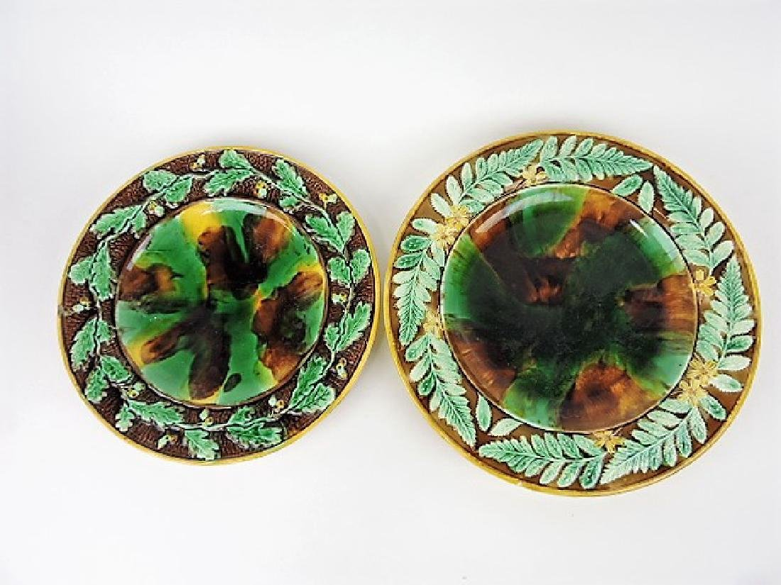 "Majolica lot of 2 large round trays, 12"" & 13 1/2"""