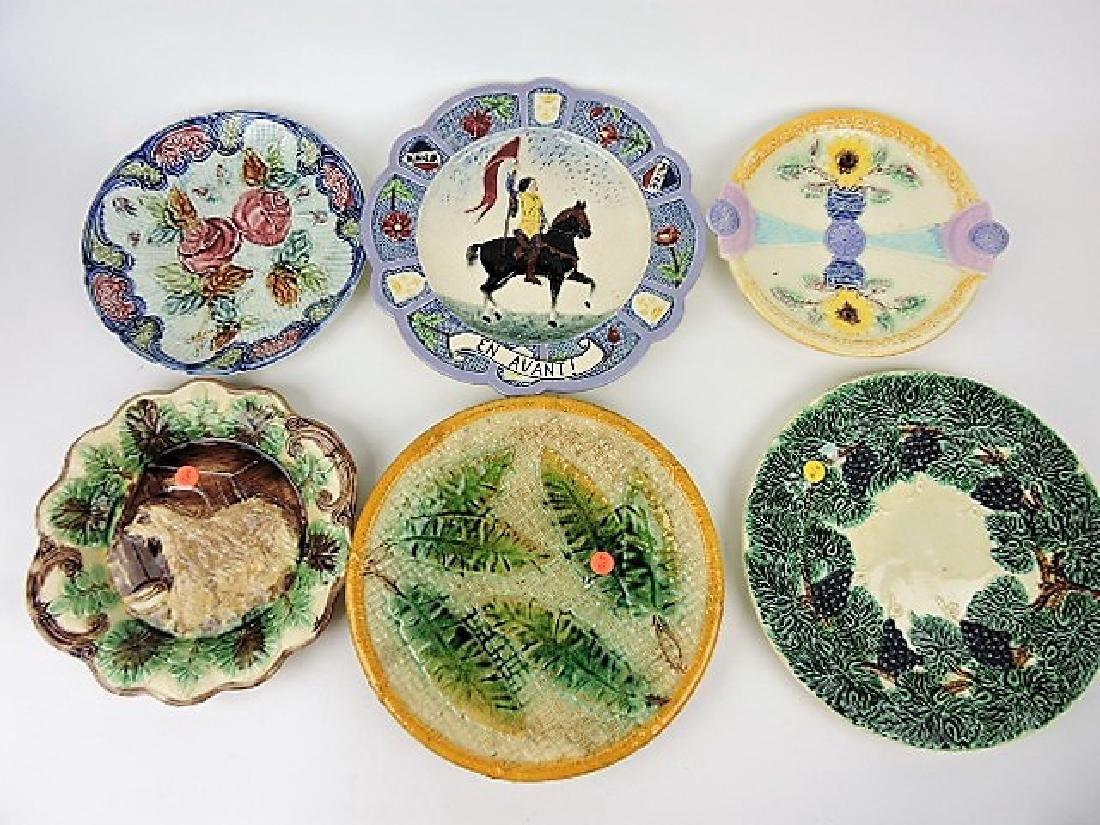 """Majolica lot of 6 large trays, 9 1/2"""" to 12"""","""