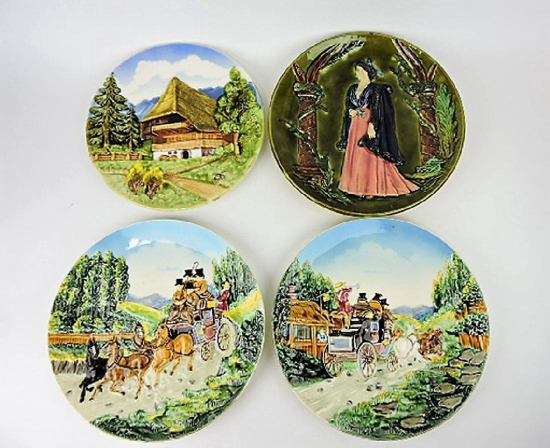 Majolica lot of 4 scenic plaques various condition