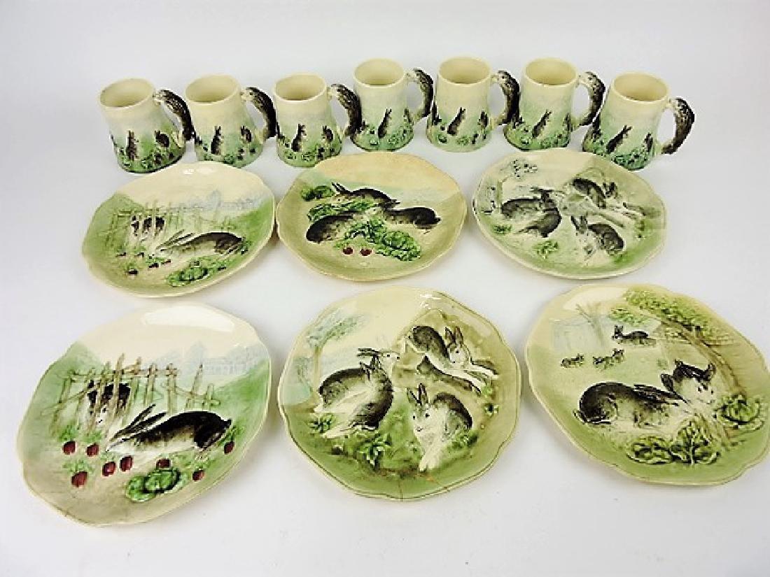 Choisy-le-Roi set of 6 majolica rabbit plates and