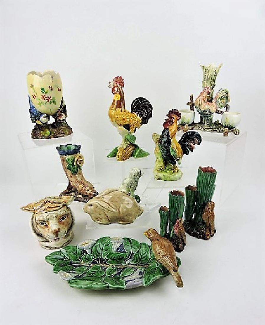 Majolica lot of 11 animal figurals, various