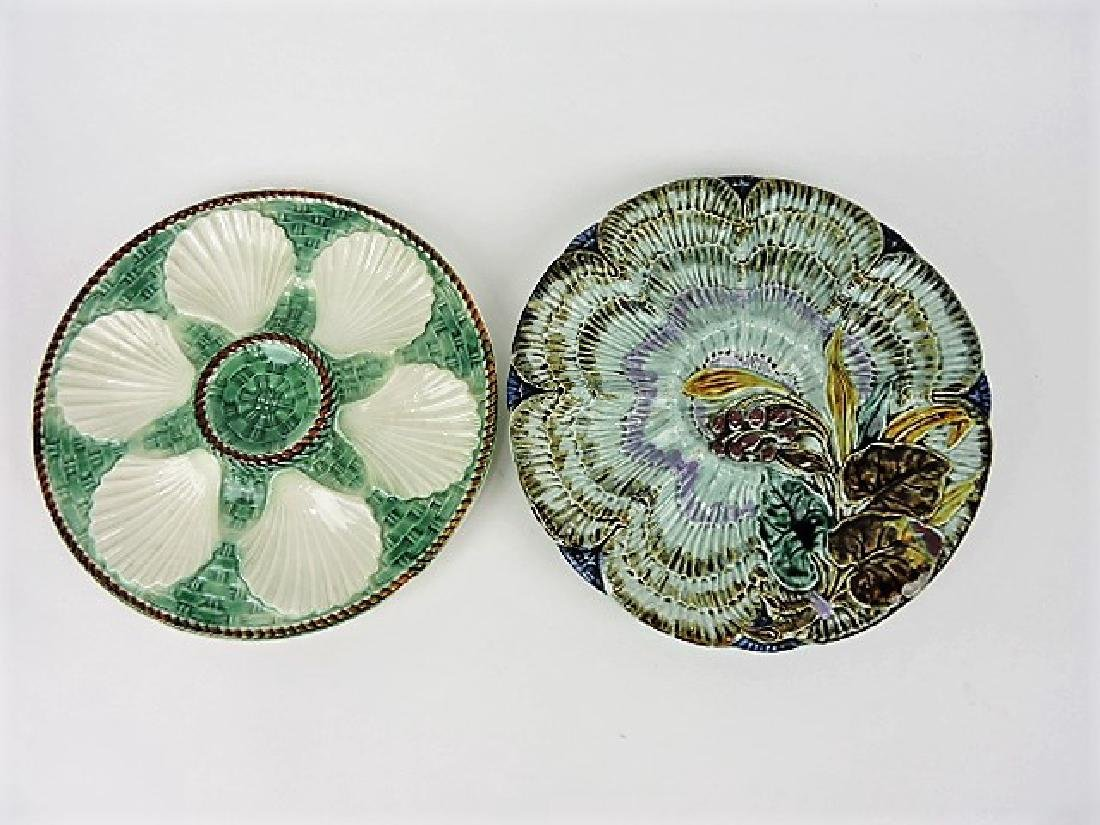 Majolica lot of 2 oyster plates