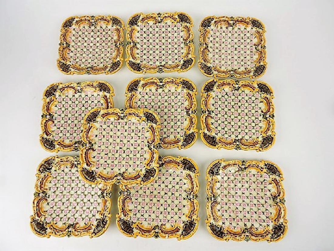 "Majolica set of 10 - 6 1/2"" square plates, various"