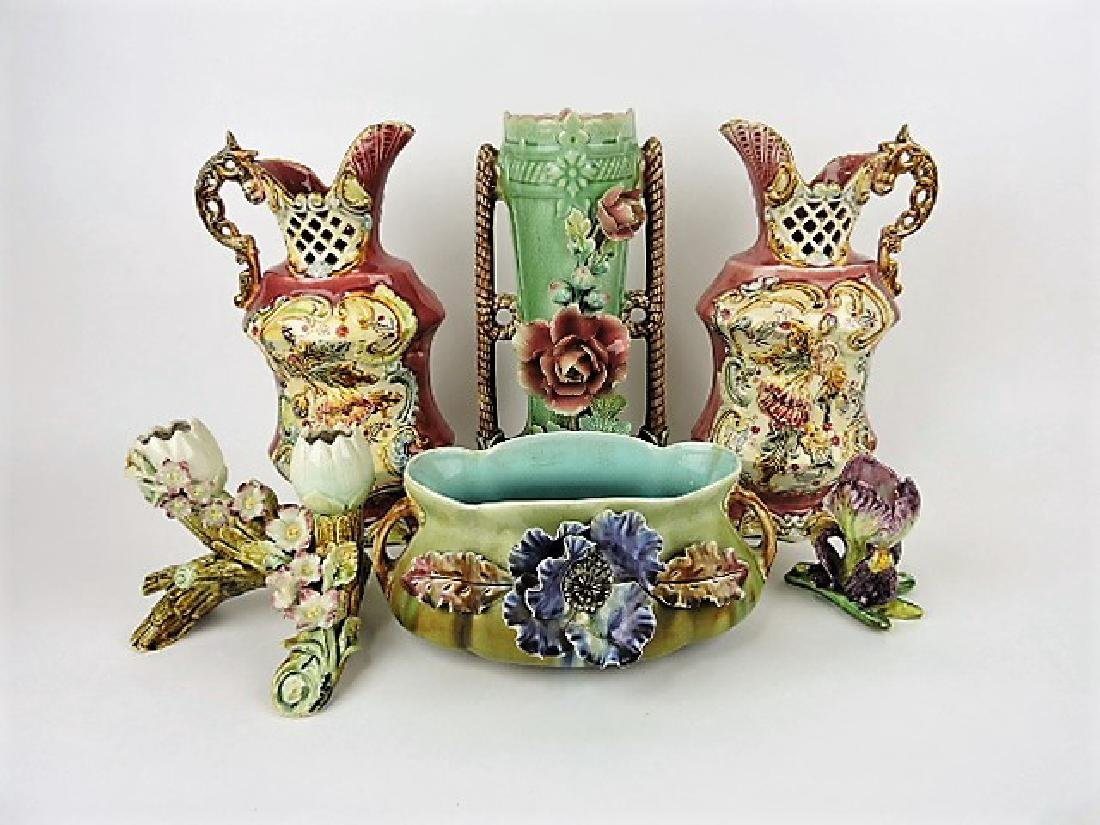 Majolica lot of 6 vases, various condition