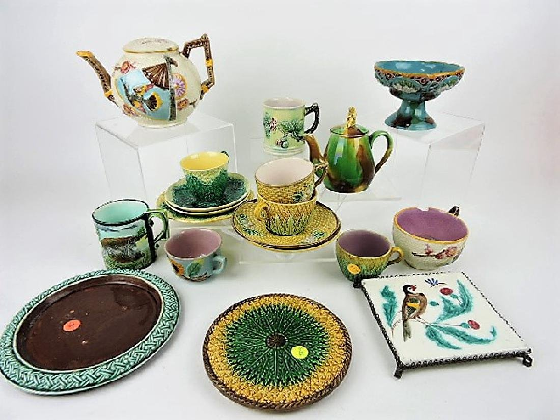 Majolica lot of 16 assorted items, various