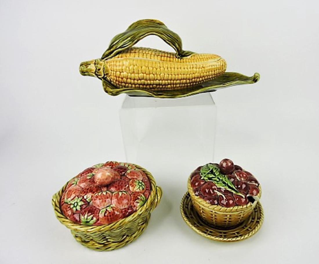 Sarreguemines majolica lot of 3 covered pcs - corn