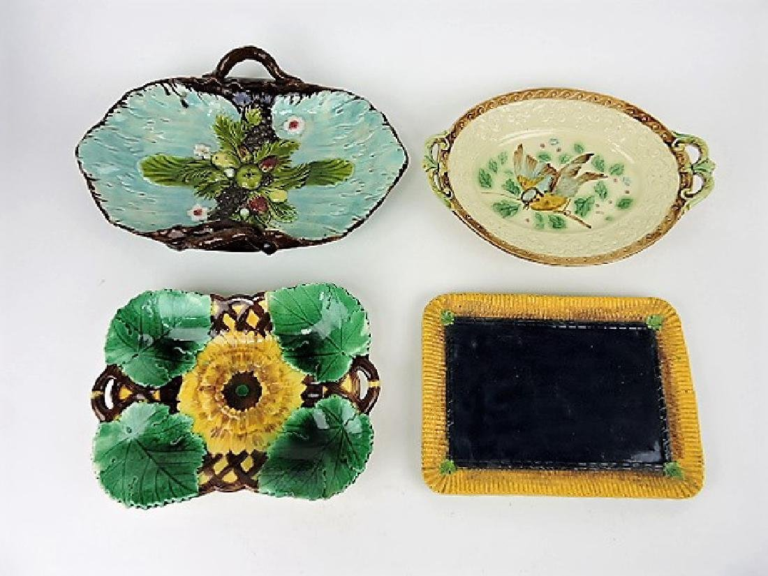 Majolica lot of 4 platters and trays, various