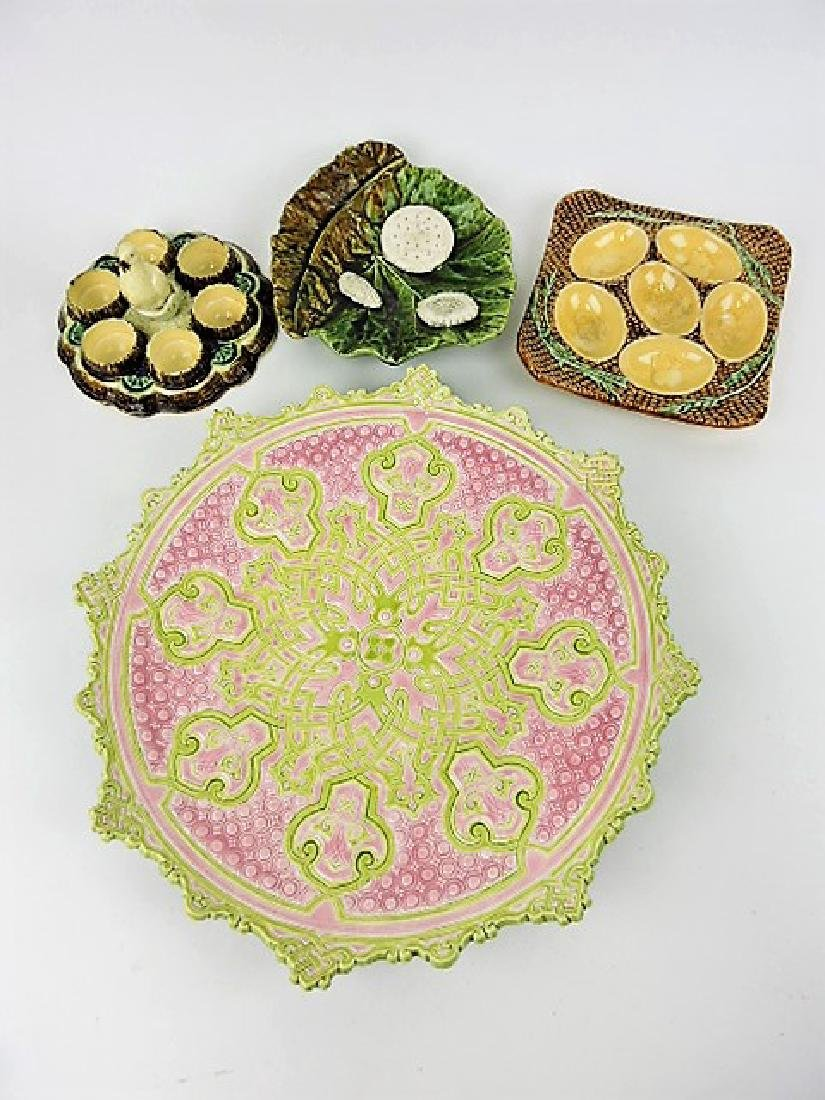 Majolica lot of 4 trays, plates, and holders,