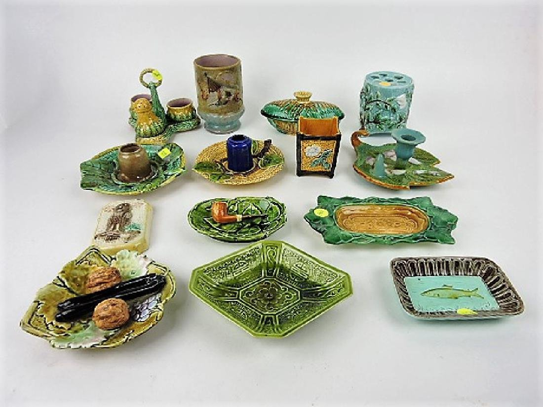 Majolica lot of 14 assorted items, various