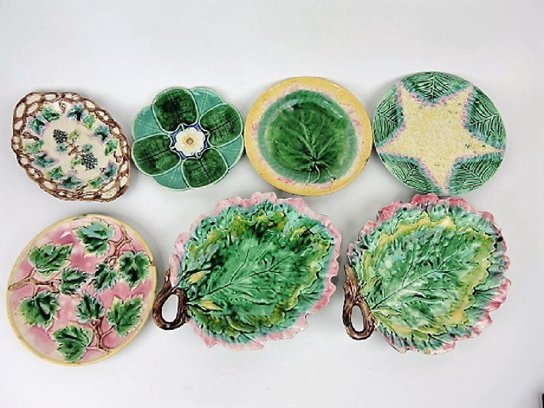 Etruscan majolica lot of 7 plates and trays,