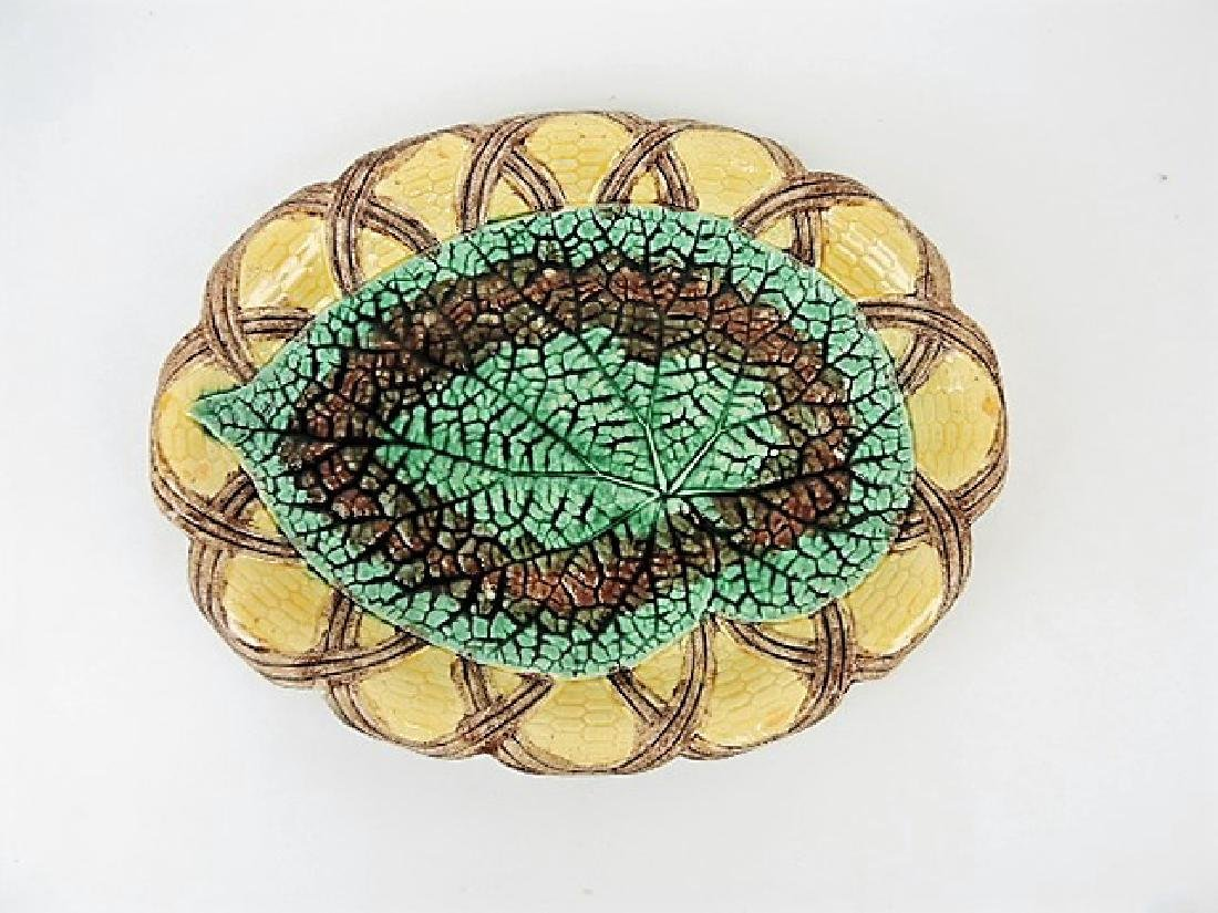 """Etruscan majolica begonia and wicker tray 12"""""""