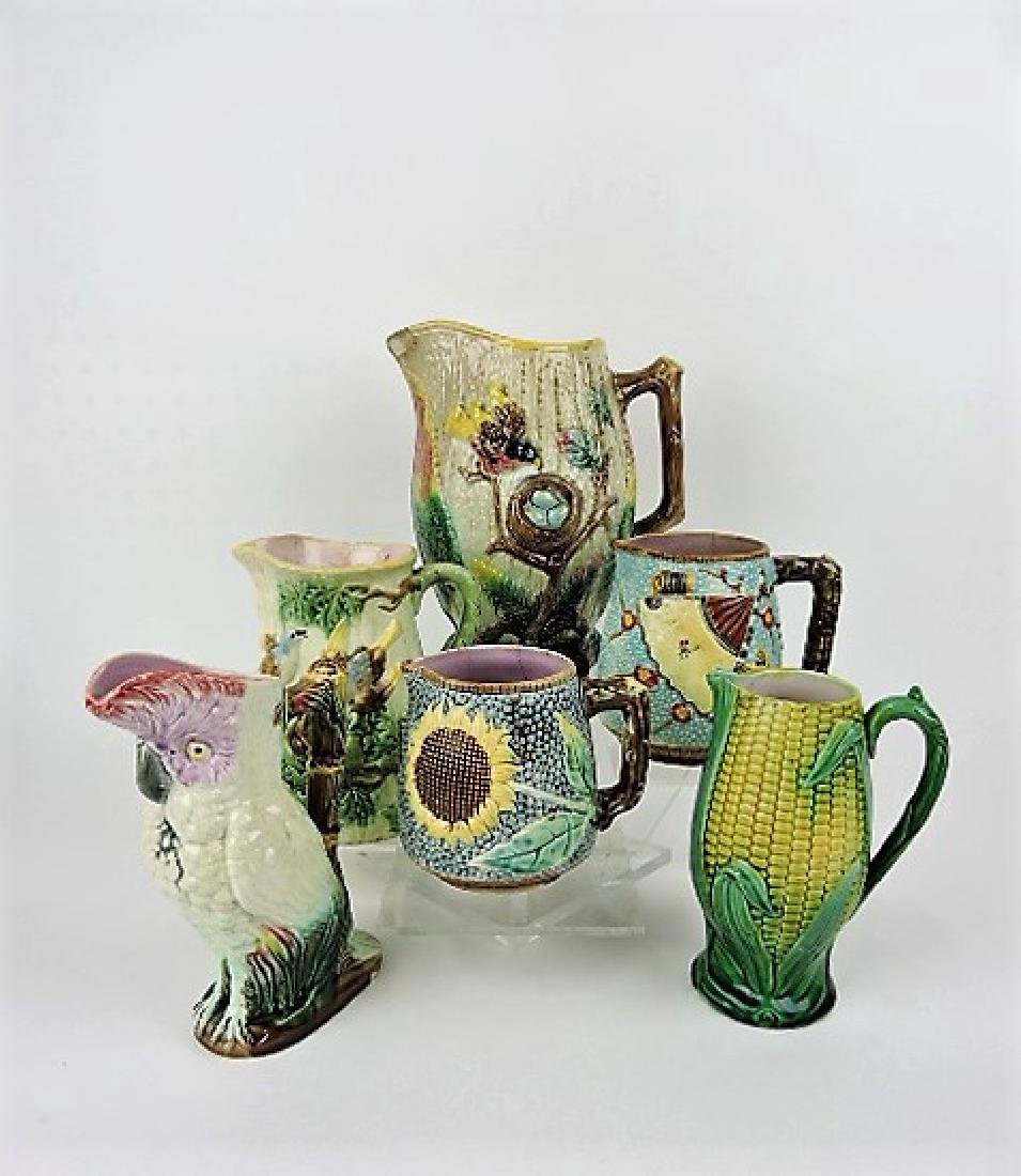 Majolica lot of 6 pitchers, various condition