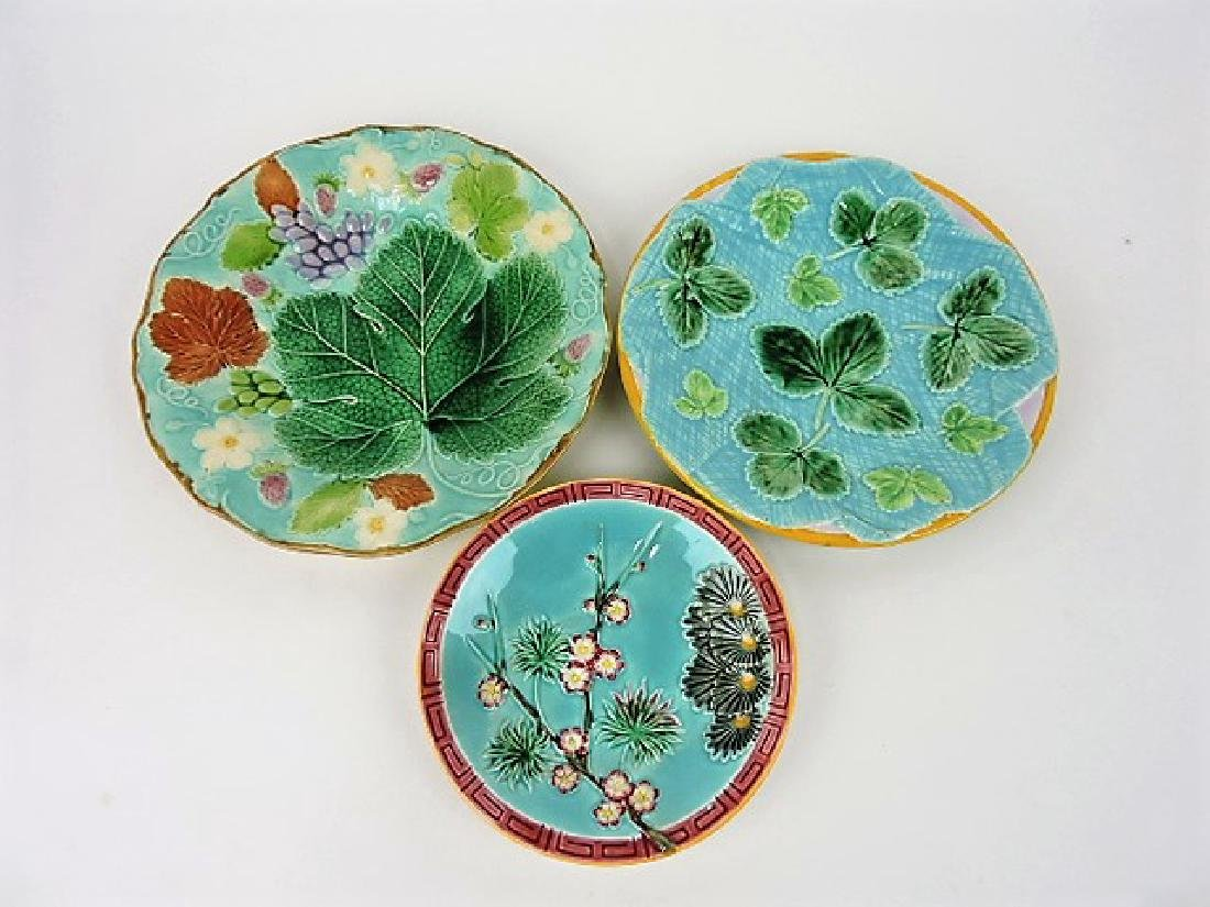 George Jones and Wedgwood majolica lot of 3