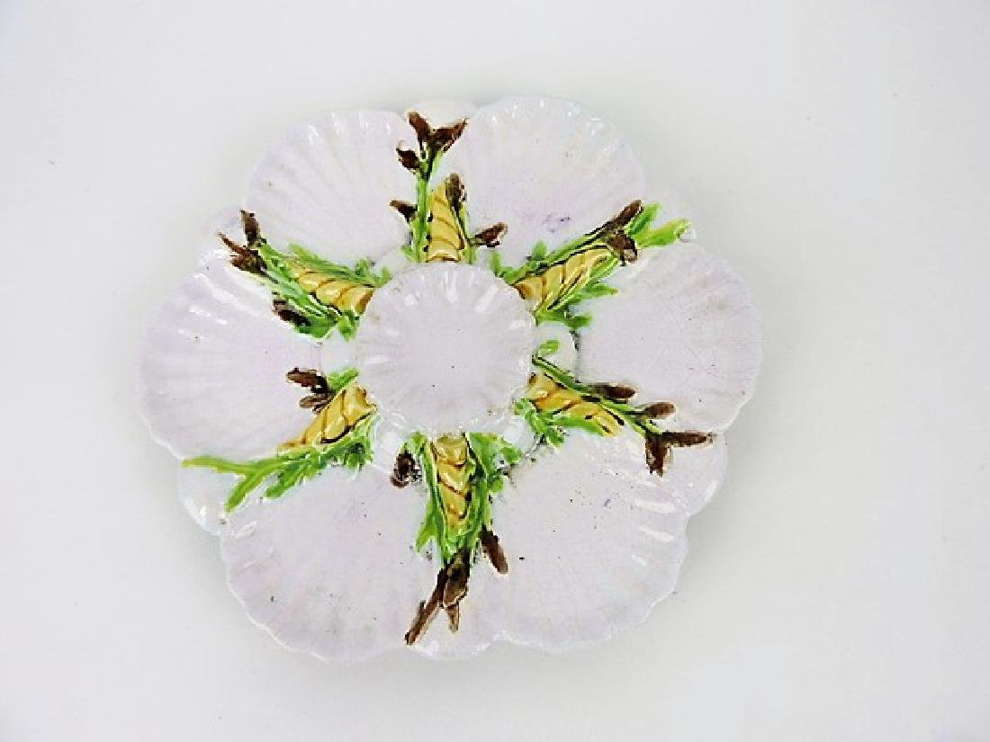 "George Jones majolica white oyster plate 8 3/4"""