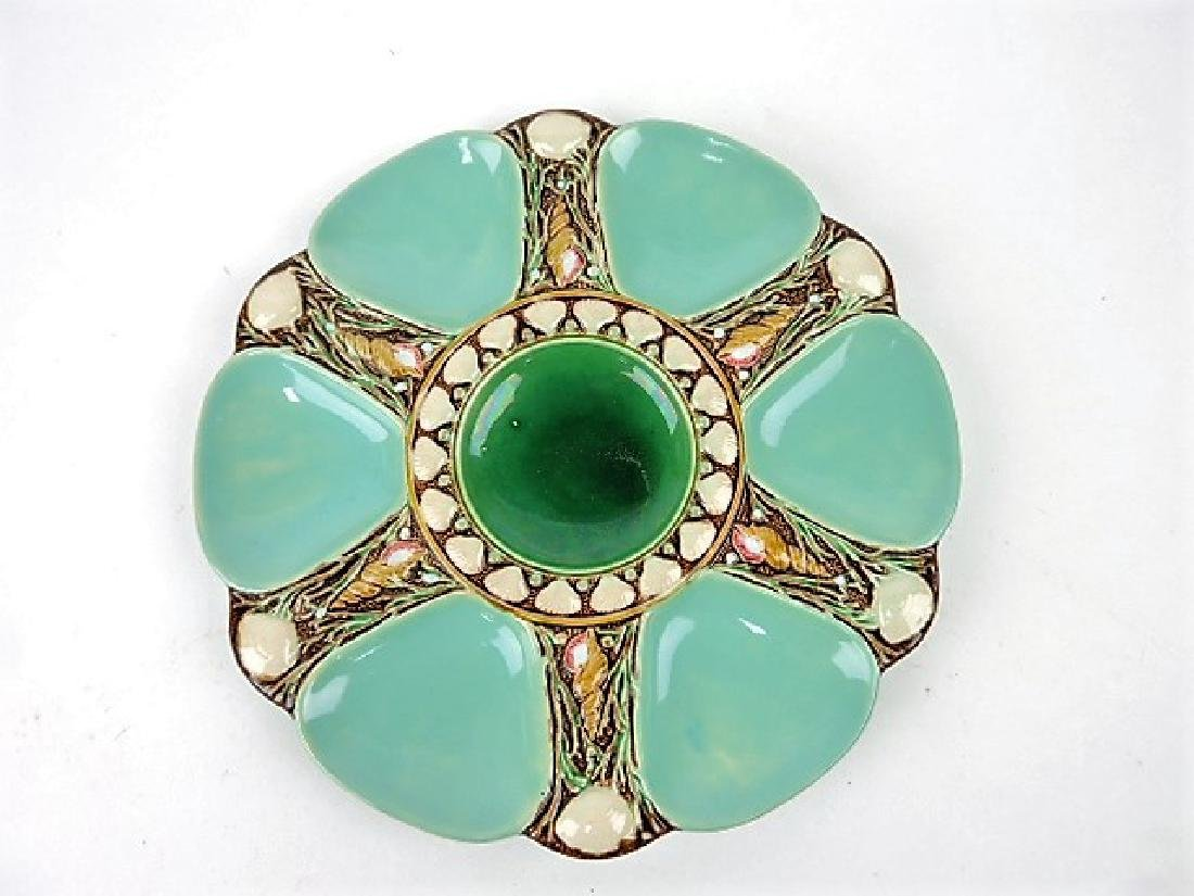 """Minton majolica seamist 6 well oyster plate 9"""""""