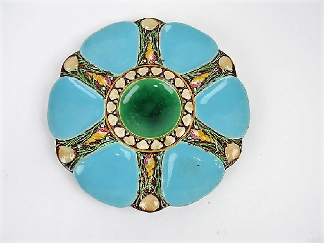"Minton majolica turquoise 6 well oyster plate 9"","