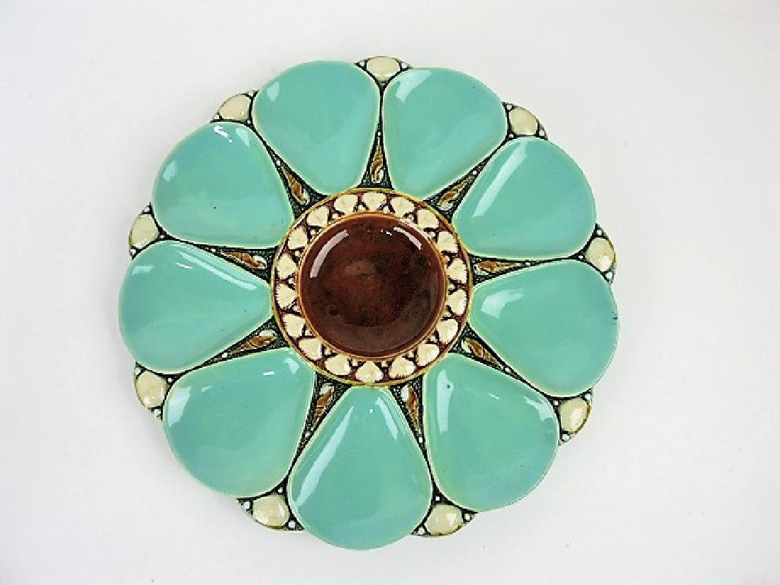 """Minton majolica seamist 9 well oyster plate 10"""""""