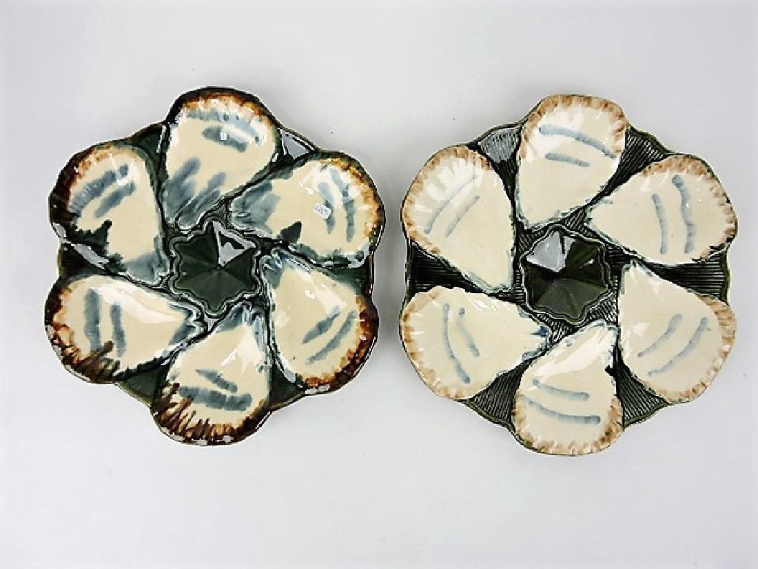 Longchamp majolica lot of 2 oyster plates