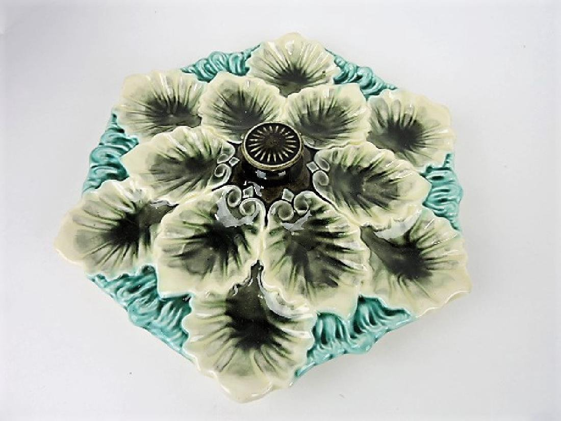 French majolica 12 well oyster platter with center