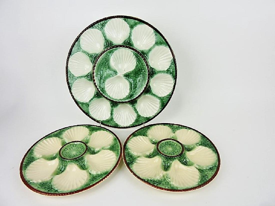 """Majolica oyster platter 13"""" and 2 - 9 1/2"""""""