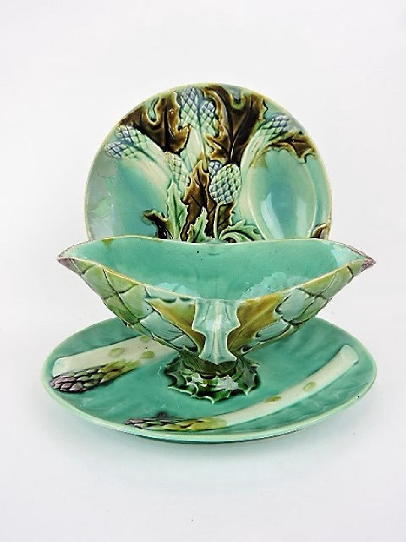 French majolica asparagus sauce boat and