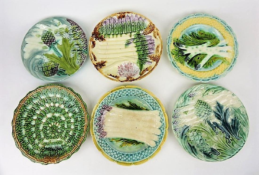 French majolica lot of 6 asparagus plates