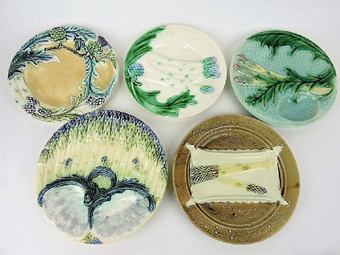 French majolica lot of 5 asparagus plates
