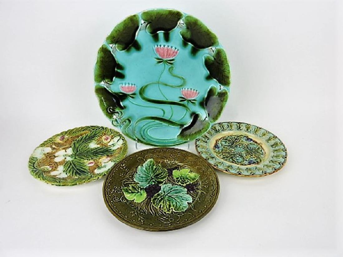Majolica lot of 4 plates, various condition