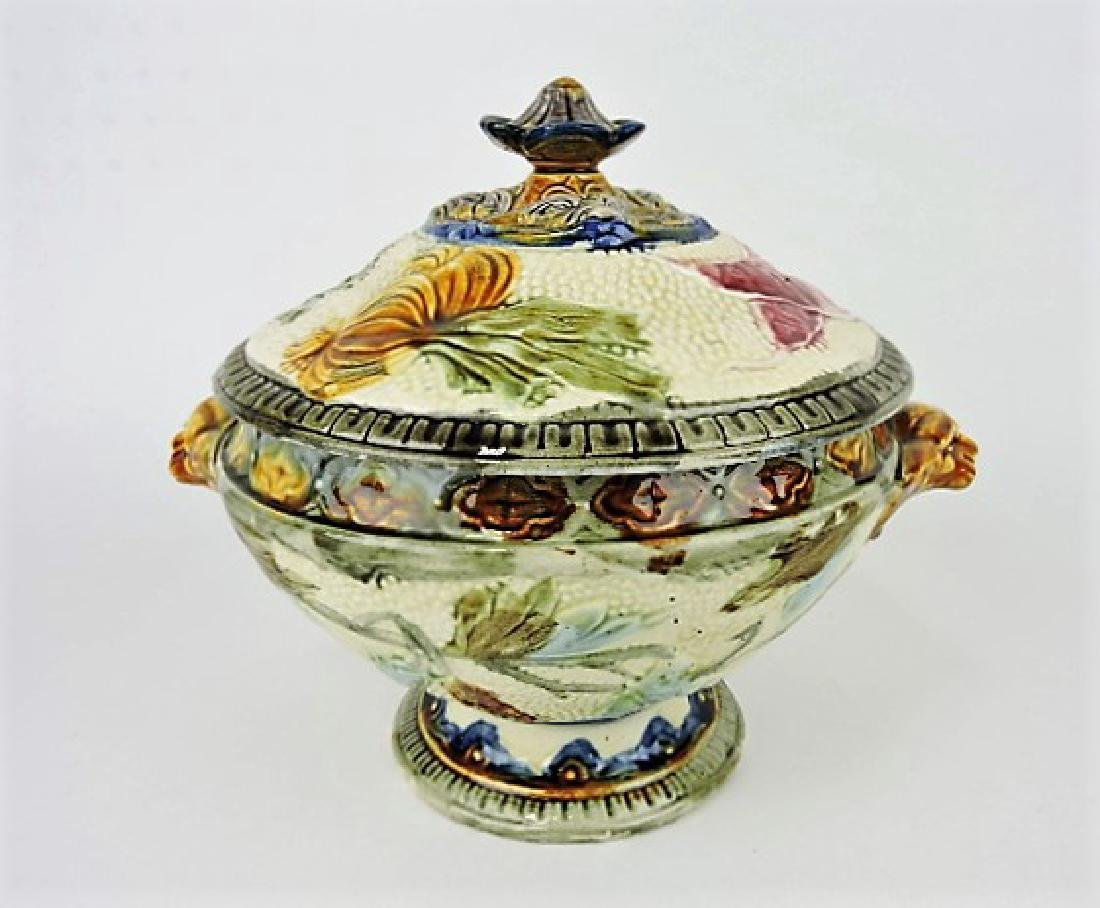 "French majolica tureen with griffin handles 9"" h,"