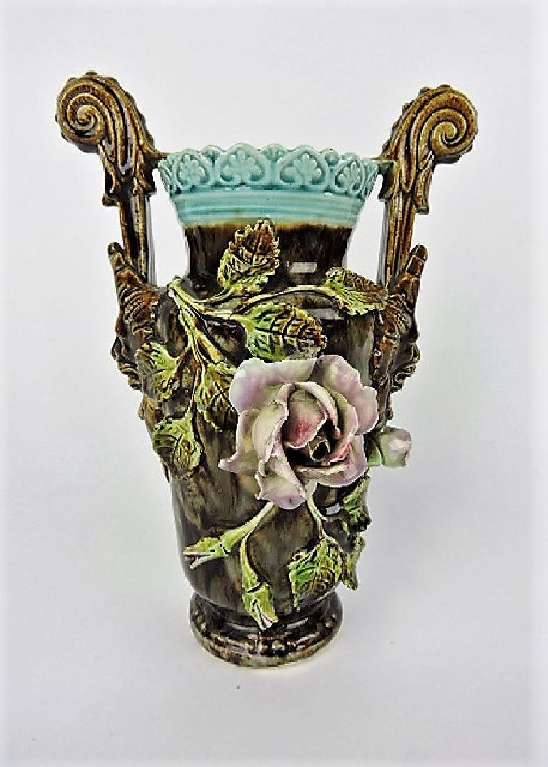 """Majolica 11"""" vase with applied flowers, losses"""