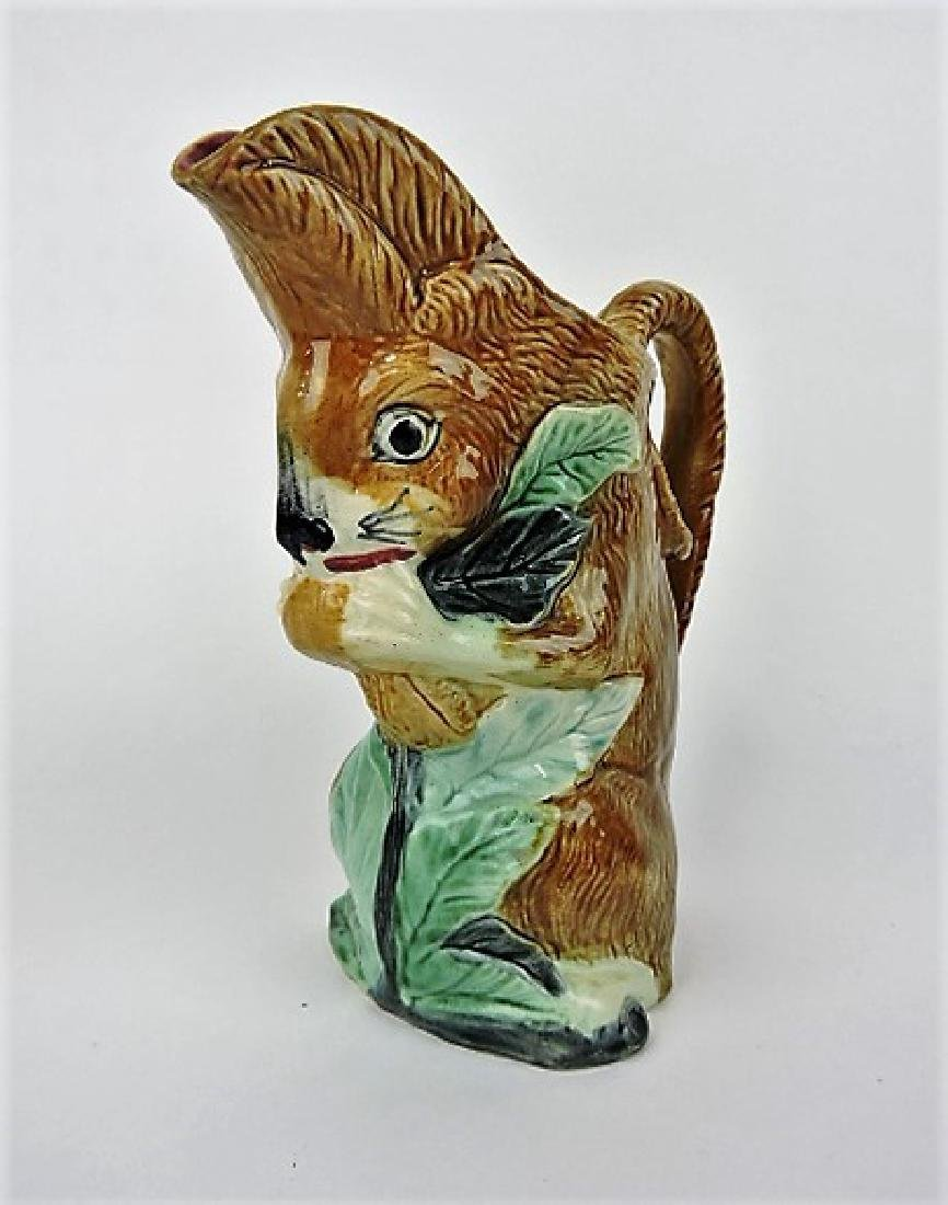 French majolica figural pitcher, squirrel with