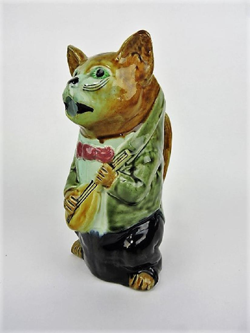 French majolica figural pitcher, cat with mandolin