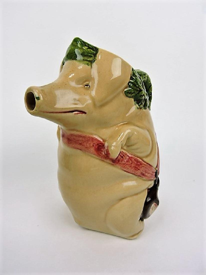 """Majolica pig with ham pitcher, 8 1/2"""""""