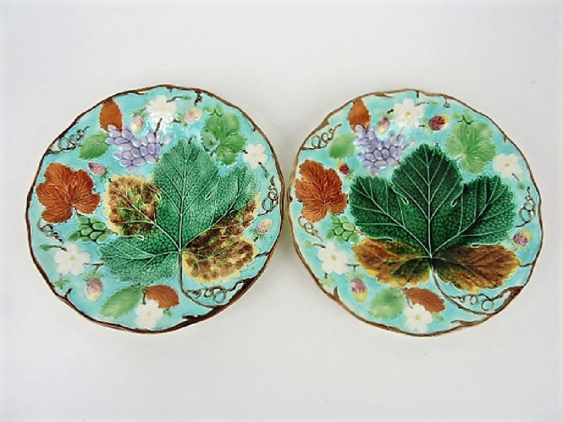 Wedgwood majolica pair of turquoise grape and