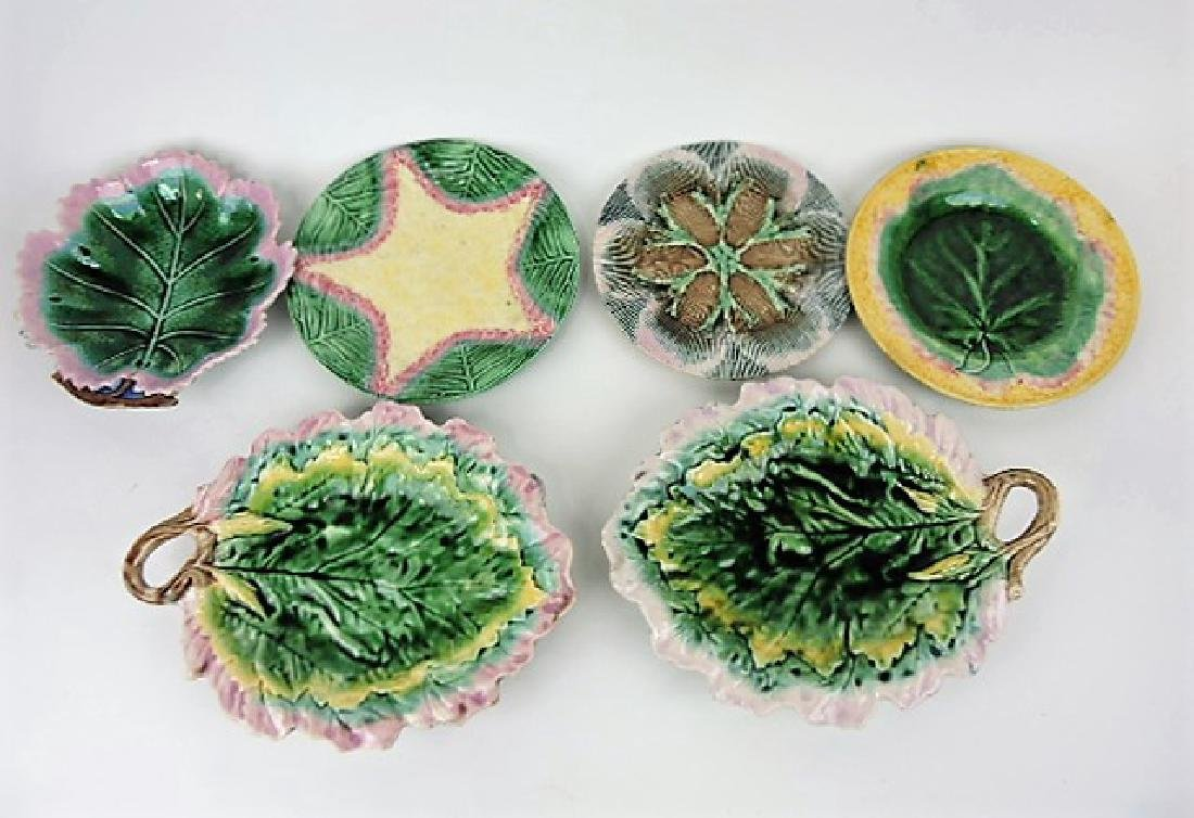 Etruscan majolica lot of 6 plates and trays,