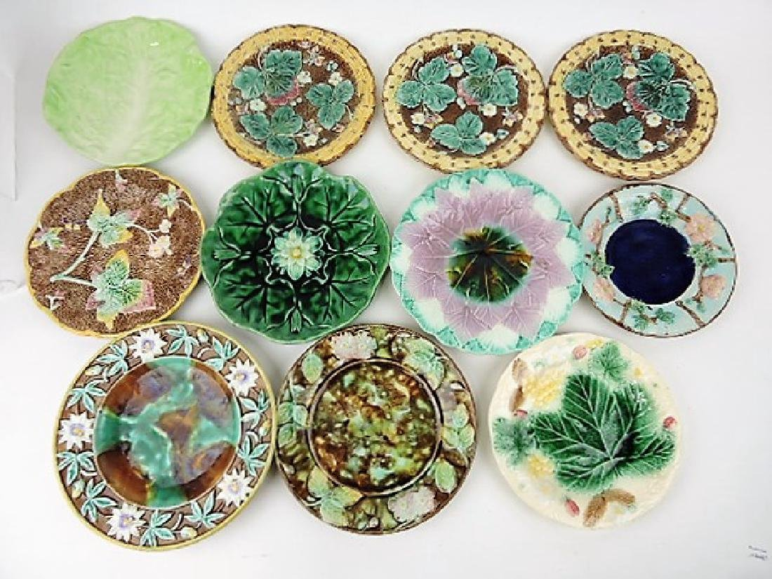 Majolica lot of 11 plates various condition