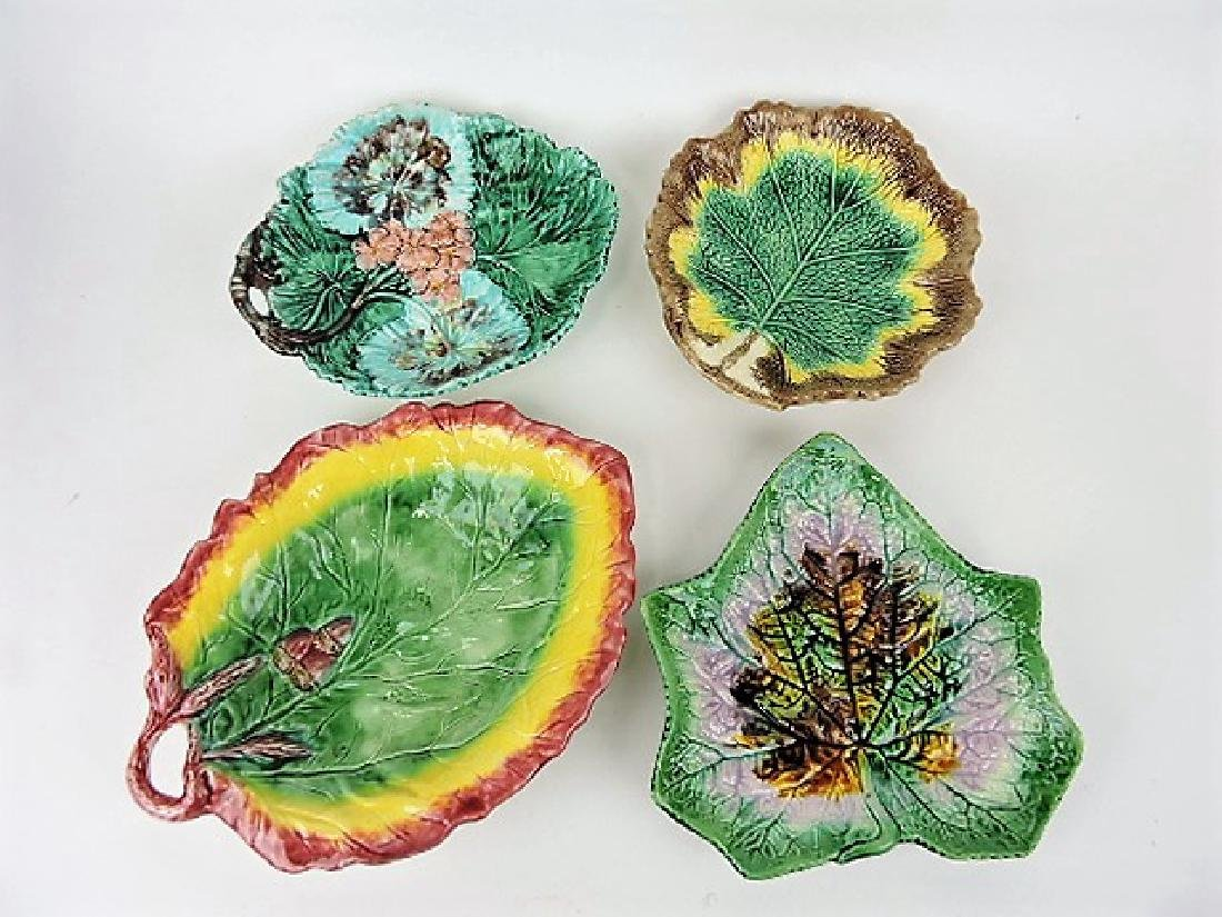 Majolica lot of 4 leaf trays various condition