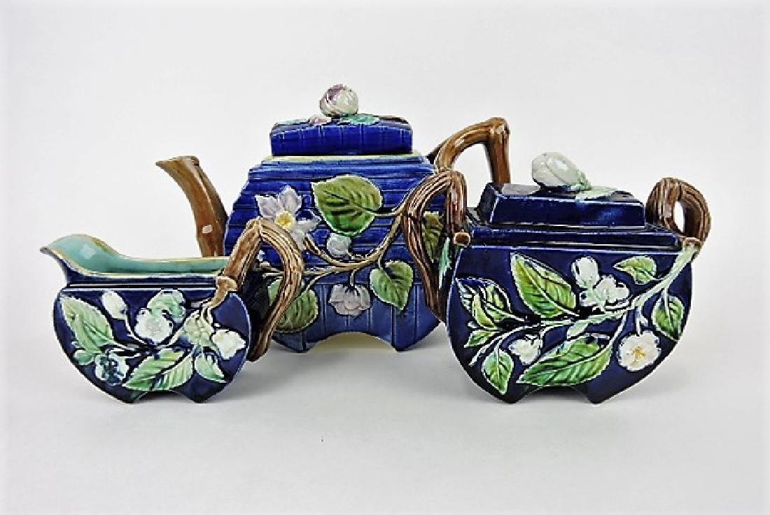 Majolica cobalt flat sided floral 3 pc tea set