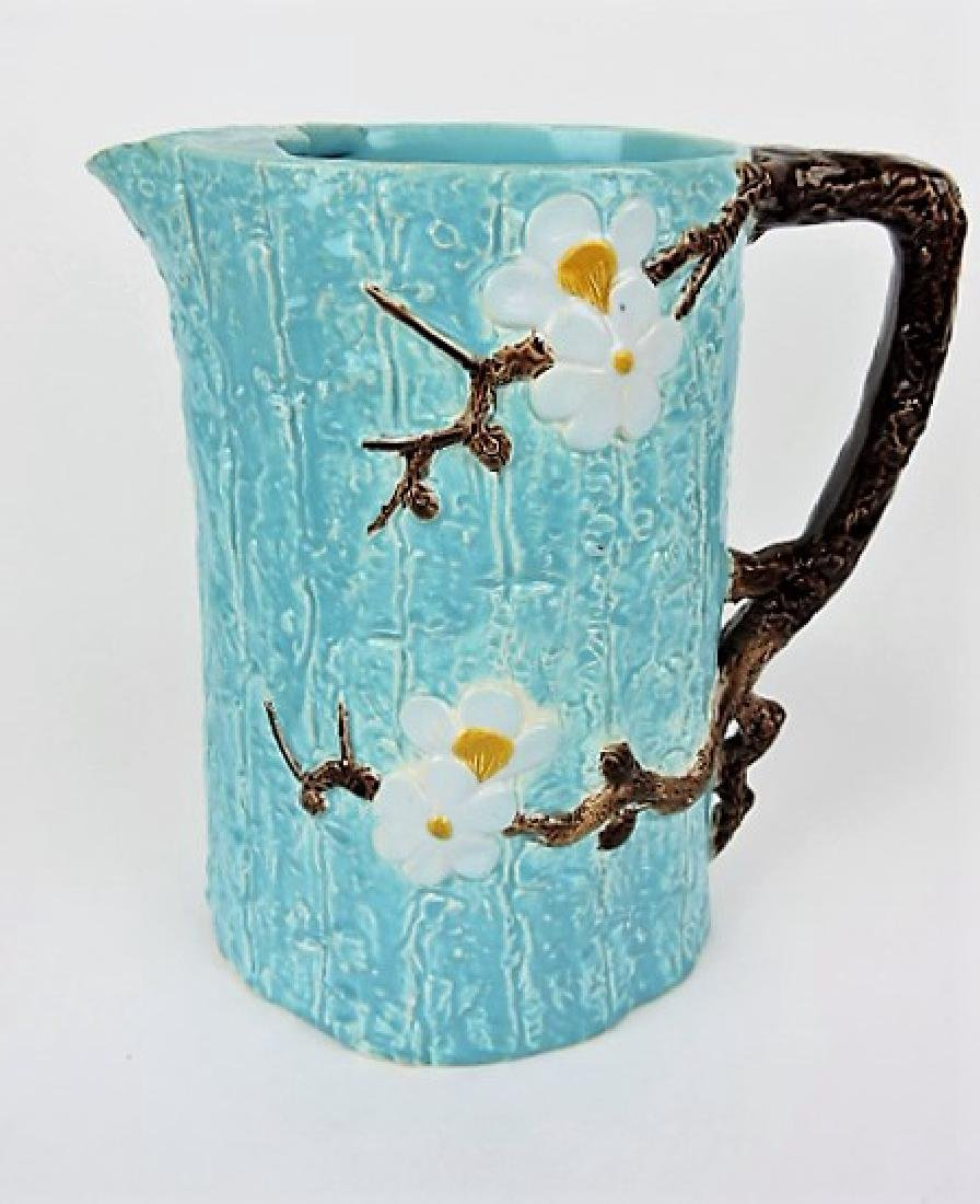 Holdcroft majolica large dogwood pitcher with ice
