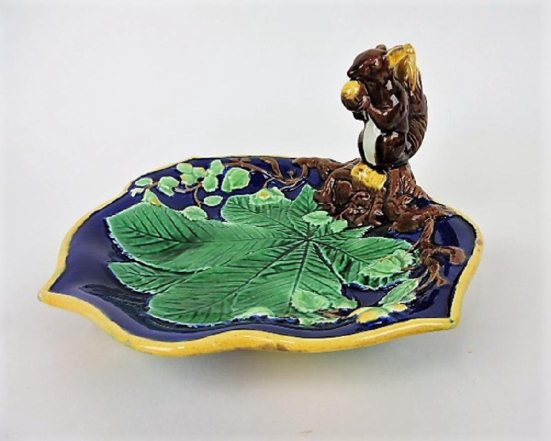 """Majolica squirrel with nut tray 10"""""""