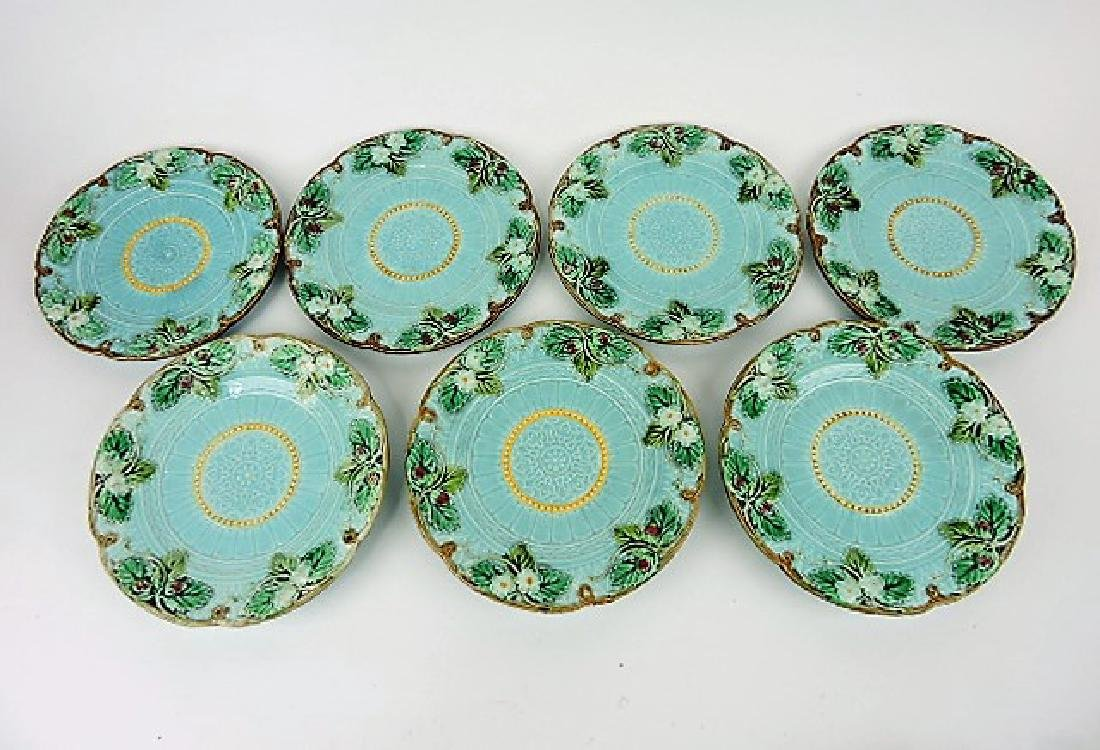 Sarreguemines majolica lot of 7 strawberry plates,