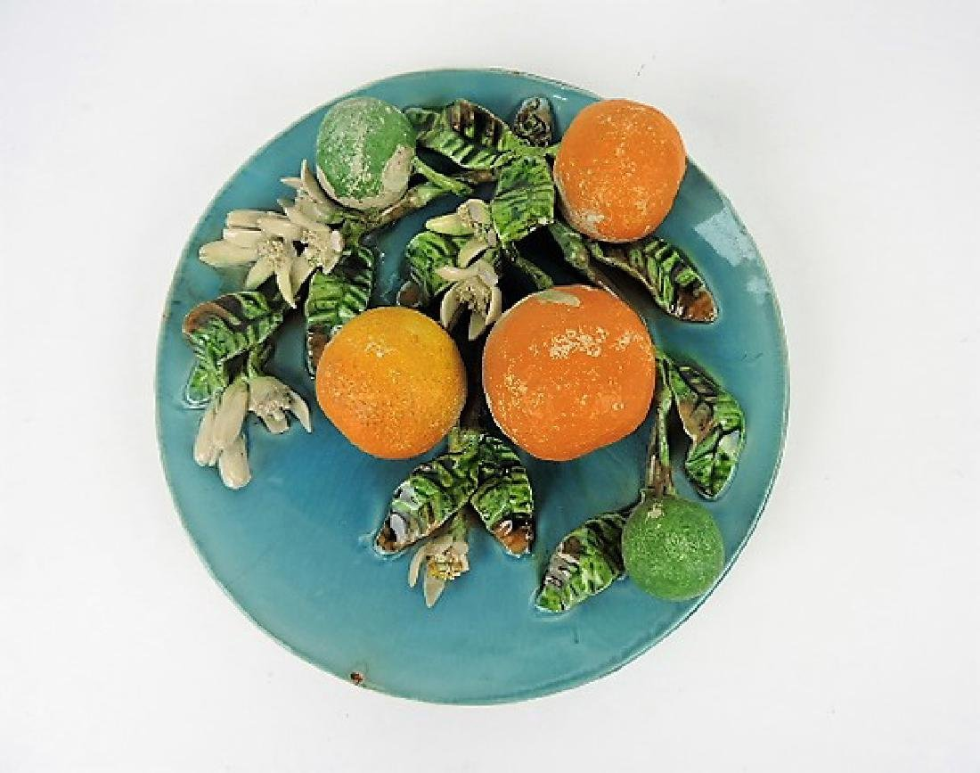 Menton majolica plate with oranges, some