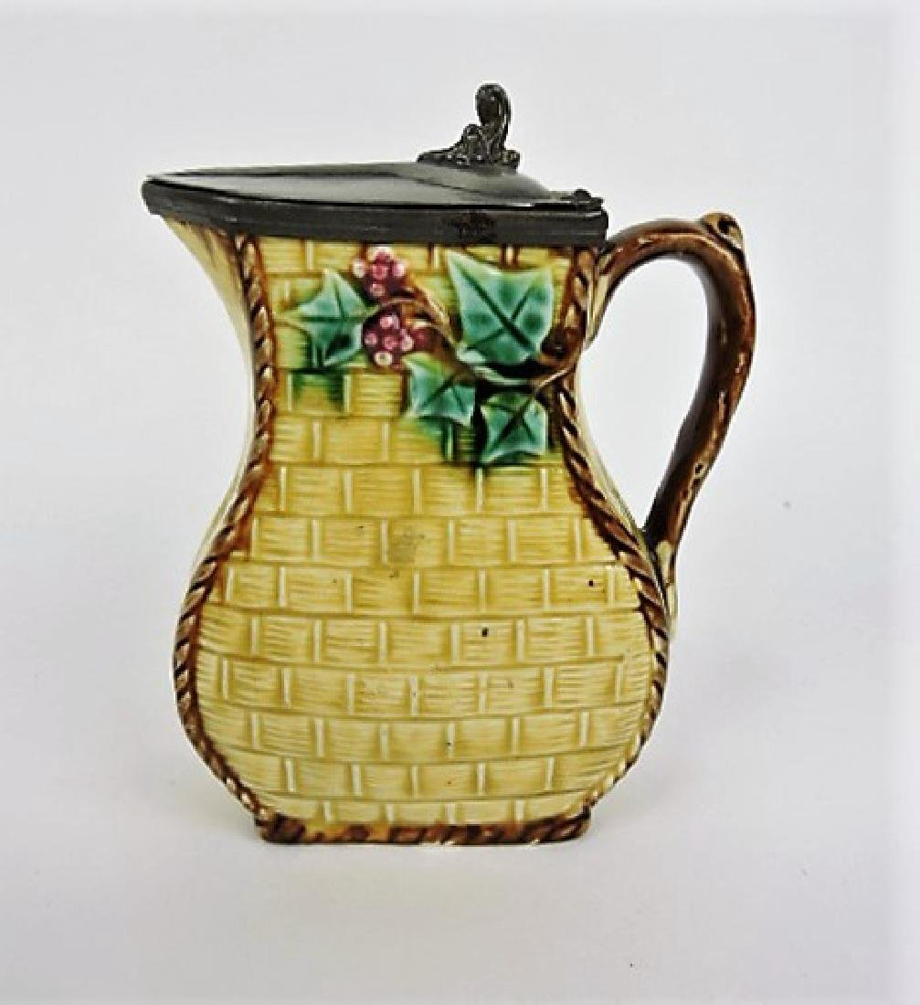 Majolica syrup pitcher with pewter top