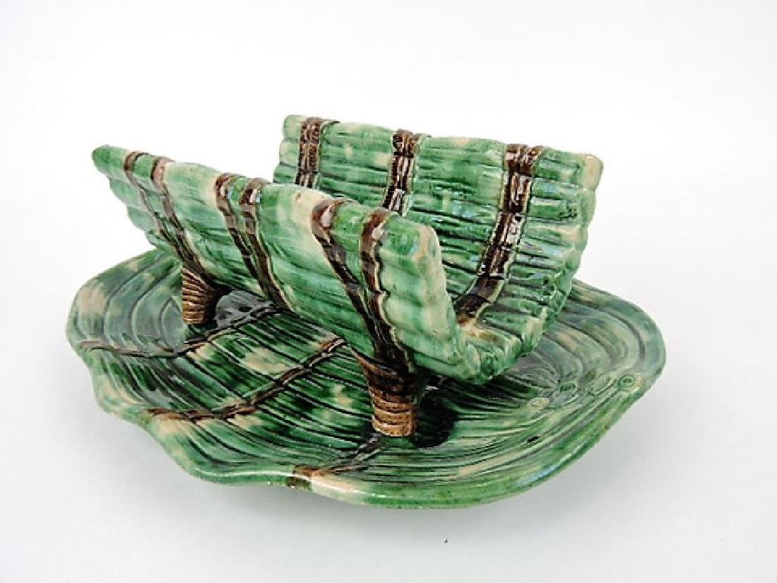 Majolica asparagus cradle and tray
