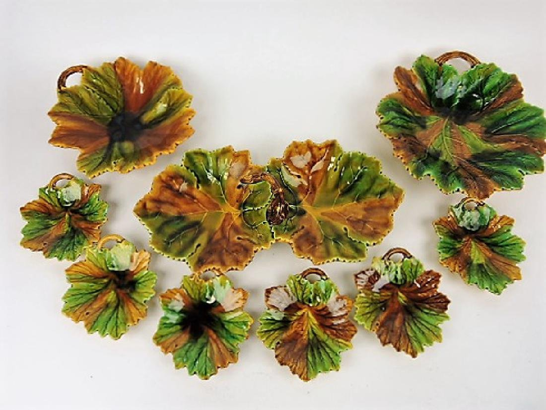 Majolica 9 pc leaf set, various condition